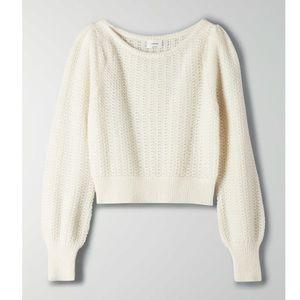 Aritzia Wilfred Katarina Sweater Puff Sleeve Fuzzy Sweater Open Knit